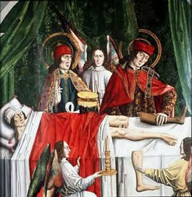 Saints Cosmas and Damian performing a miraculous cure by transplantation of a leg