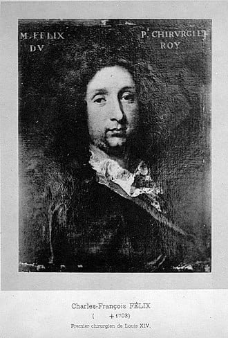 Black and white painting of Charles-Francois Félix de Tassy, chief minister in France before the reign of Louis XIV.
