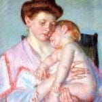 An impressionist painting of a sleepy baby and mom in pink robe.