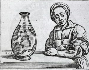 Woodcut of a woman applying leeches