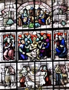 Stained glass window commemorating the smallpox epidemic
