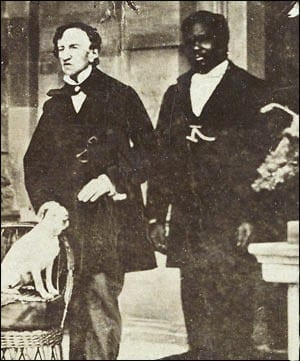 Dr. James Barry with John, a servant, and his dog, Psyche.
