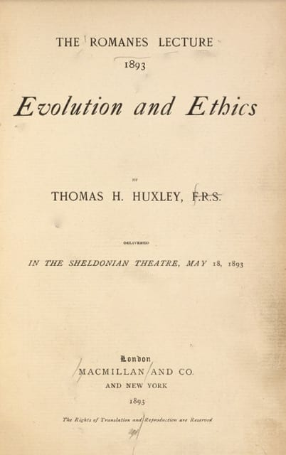 Front page of lecture by Thomas Henry Huxley