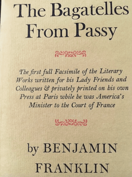 Title page from Bagatelles from Passy which contains some of Benjamin Franklin's writing on gout