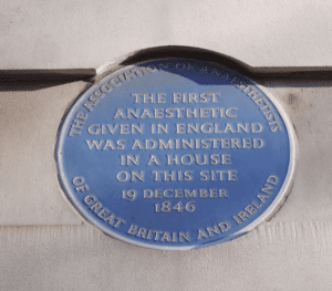 Plaque commemorating the first use of anesthesia in England