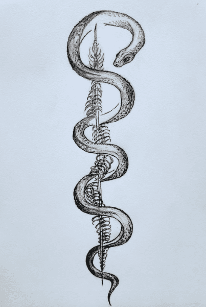 A snake and a leaf forming a rod of Asclepius.